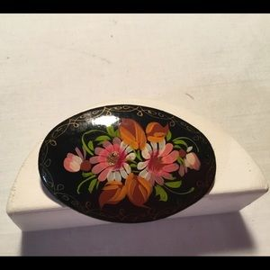 Vintage hand painted brooch. Signed